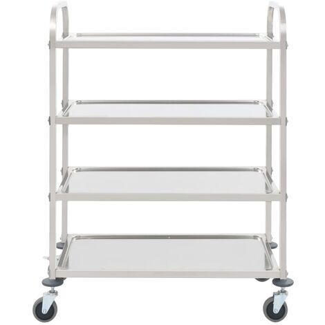 Hommoo 4-Tier Kitchen Trolley 107x55x125 cm Stainless Steel QAH30745