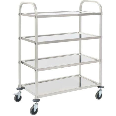 Hommoo 4-Tier Kitchen Trolley 107x55x125 cm Stainless Steel VD30745
