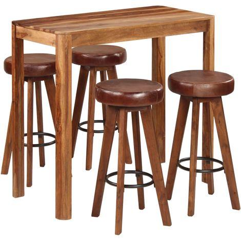 Hommoo 5 Piece Bar Set Solid Sheesham Wood 115x56x107 cm