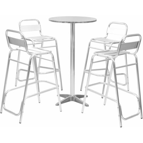 Hommoo 5 Piece Bar Set with Round Table Silver Aluminium