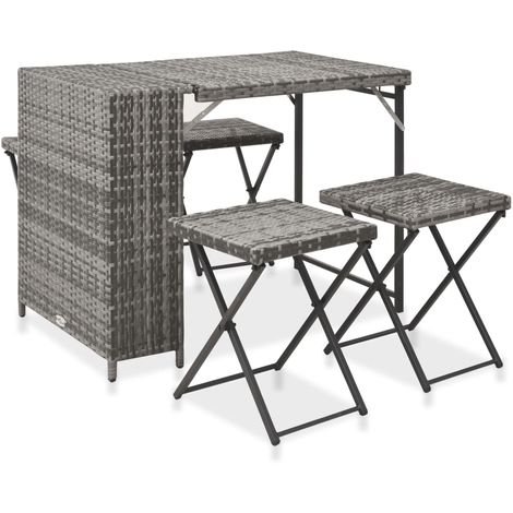 Hommoo 5 Piece Folding Outdoor Dining Set Poly Rattan Grey