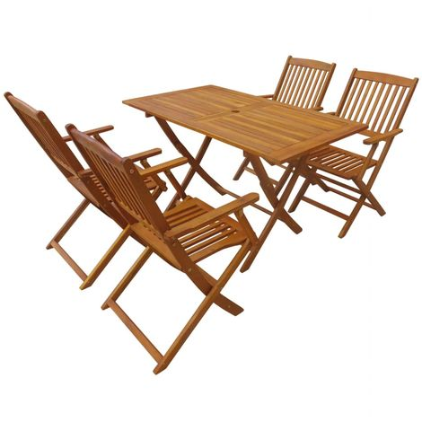 Hommoo 5 Piece Folding Outdoor Dining Set Solid Acacia Wood