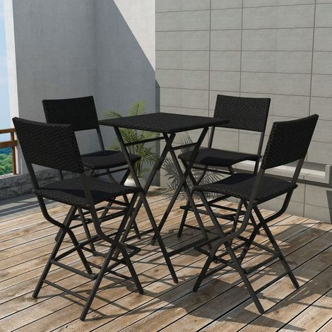 Hommoo 5 Piece Folding Outdoor Dining Set Steel Poly Rattan Black