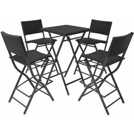 Hommoo 5 Piece Folding Outdoor Dining Set Steel Poly Rattan Black QAH27339