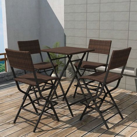 Hommoo 5 Piece Folding Outdoor Dining Set Steel Poly Rattan Brown