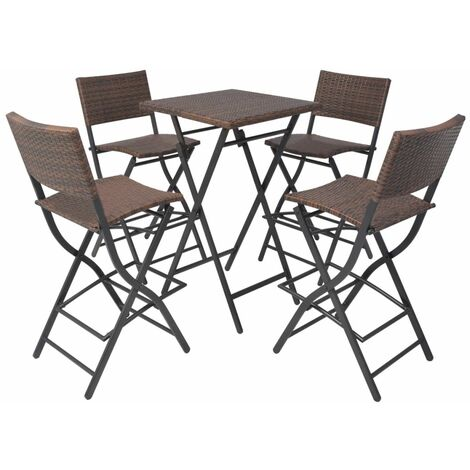Hommoo 5 Piece Folding Outdoor Dining Set Steel Poly Rattan Brown QAH27338