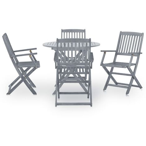 Hommoo 5 Piece Garden Dining Set Solid Acacia Wood Grey QAH29986