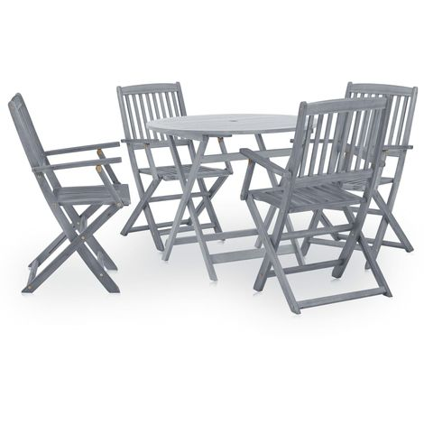 Hommoo 5 Piece Garden Dining Set Solid Acacia Wood Grey VD29986