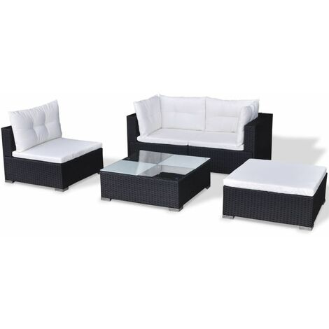 Hommoo 5 Piece Garden Lounge Set with Cushions Poly Rattan Black QAH33981