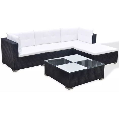 Hommoo 5 Piece Garden Lounge Set with Cushions Poly Rattan Black VD33981