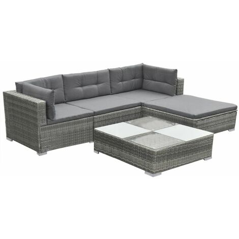 Hommoo 5 Piece Garden Lounge Set with Cushions Poly Rattan Grey QAH33982