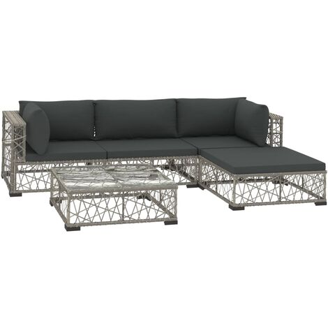 Hommoo 5 Piece Garden Lounge Set with Cushions Poly Rattan Grey QAH34022