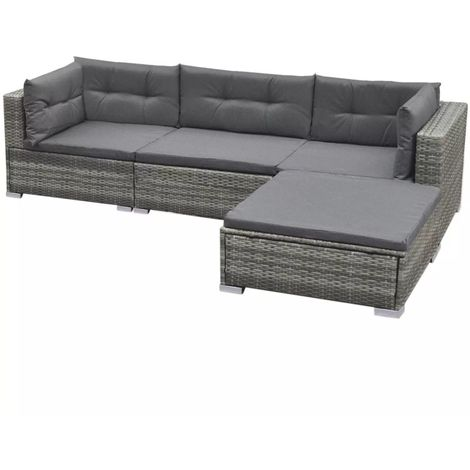 Hommoo 5 Piece Garden Lounge Set with Cushions Poly Rattan Grey VD33982
