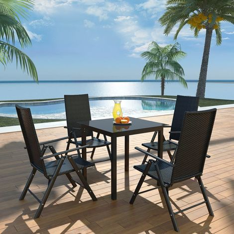 Hommoo 5 Piece Outdoor Dining Set Aluminium and Poly Rattan