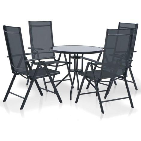 Hommoo 5 Piece Outdoor Dining Set Aluminium and Textilene Black
