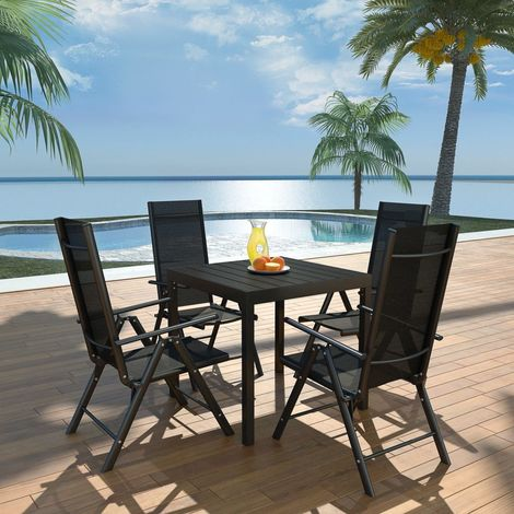 Hommoo 5 Piece Outdoor Dining Set Aluminium and WPC Black