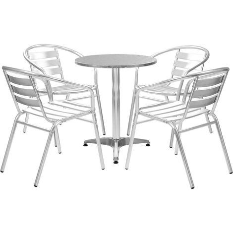 Hommoo 5 Piece Outdoor Dining Set Aluminium Silver