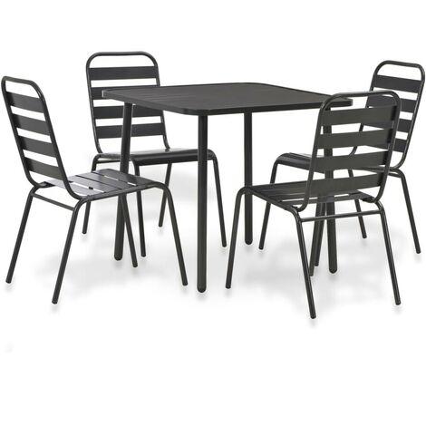 Hommoo 5 Piece Outdoor Dining Set Steel Dark Grey