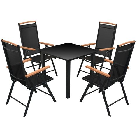 Hommoo 5 Piece Outdoor Dining Set with Folding Chairs Aluminium Black