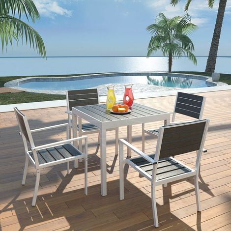 Hommoo 5 Piece Outdoor Dining Set with WPC Tabletop Aluminium Black