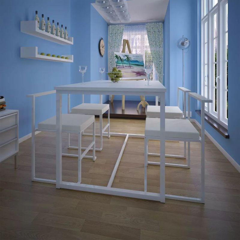 5-teilige Essgruppe Tisch + 4 Stühle Weiß VD10414 - Hommoo