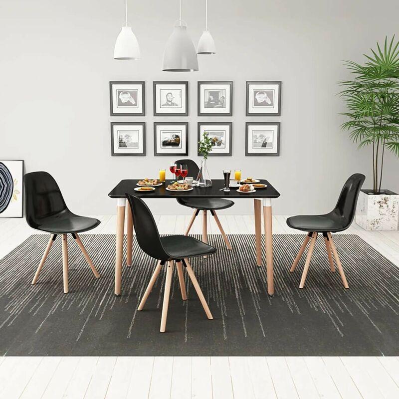 5-teilige Essgruppe Tisch Stühle Schwarz VD09893 - Hommoo