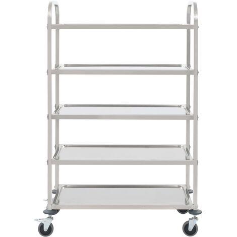Hommoo 5-Tier Kitchen Trolley 107x55x147 cm Stainless Steel QAH30746