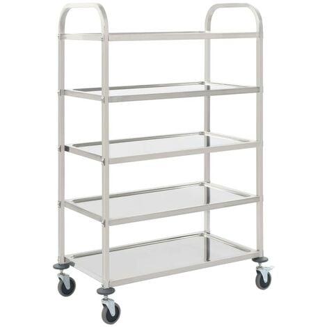 Hommoo 5-Tier Kitchen Trolley 107x55x147 cm Stainless Steel VD30746