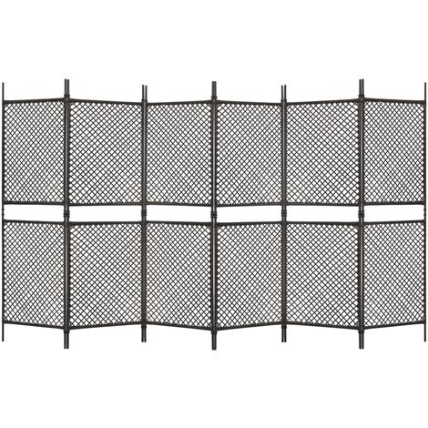 Hommoo 6-Panel Room Divider Poly Rattan Brown 360x200 cm VD46181