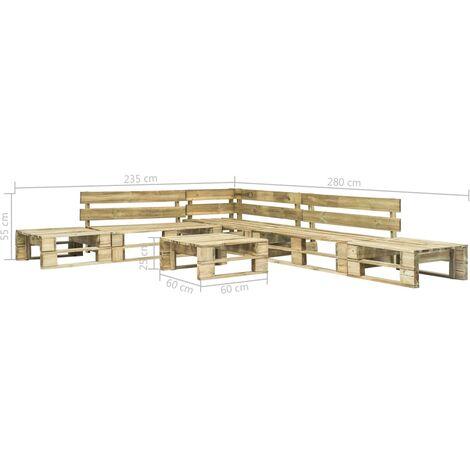 Hommoo 6 Piece Garden Lounge Set Pallets Wood QAH19137