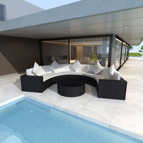 Hommoo 6 Piece Garden Lounge Set with Cushions Poly Rattan Black