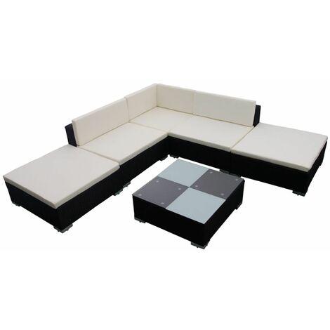 Hommoo 6 Piece Garden Lounge Set with Cushions Poly Rattan Black QAH33957