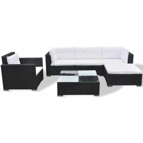 Hommoo 6 Piece Garden Lounge Set with Cushions Poly Rattan Black QAH33984