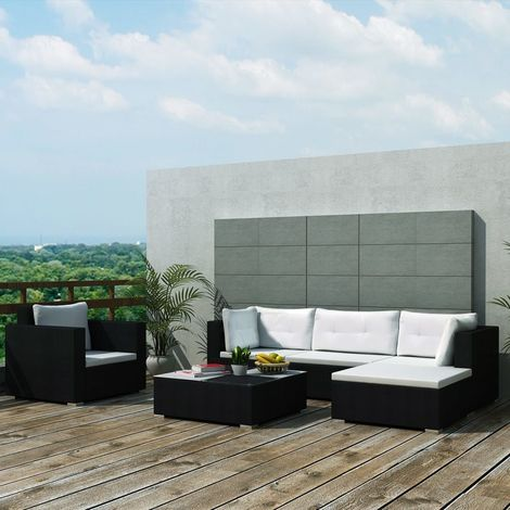 Hommoo 6 Piece Garden Lounge Set with Cushions Poly Rattan Black VD33984