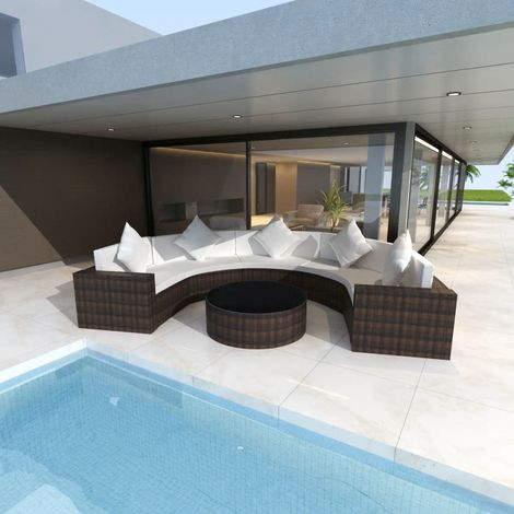 Hommoo 6 Piece Garden Lounge Set with Cushions Poly Rattan Brown