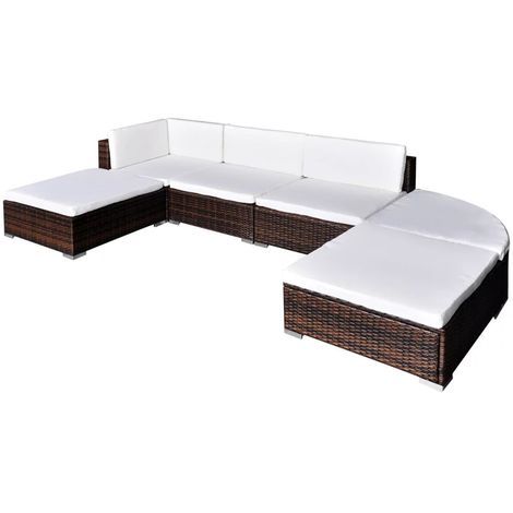 Hommoo 6 Piece Garden Lounge Set with Cushions Poly Rattan Brown VD33967