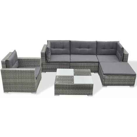 Hommoo 6 Piece Garden Lounge Set with Cushions Poly Rattan Grey