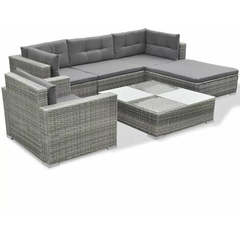 Hommoo 6 Piece Garden Lounge Set with Cushions Poly Rattan Grey QAH33985