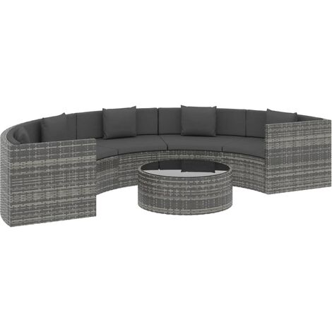 Hommoo 6 Piece Garden Lounge Set with Cushions Poly Rattan Grey (UK/IE/FI/NO Only) QAH48291