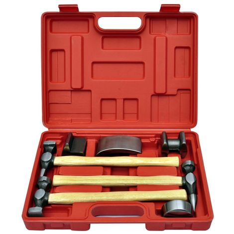 Hommoo 7-Piece Auto Body Hammer and Dolly Dent Repair Set