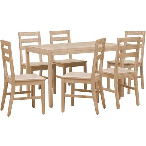 Hommoo 7 Piece Dining Set Solid Acacia Wood QAH36019