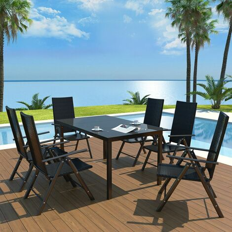 Hommoo 7 Piece Outdoor Dining Set Aluminium and Poly Rattan