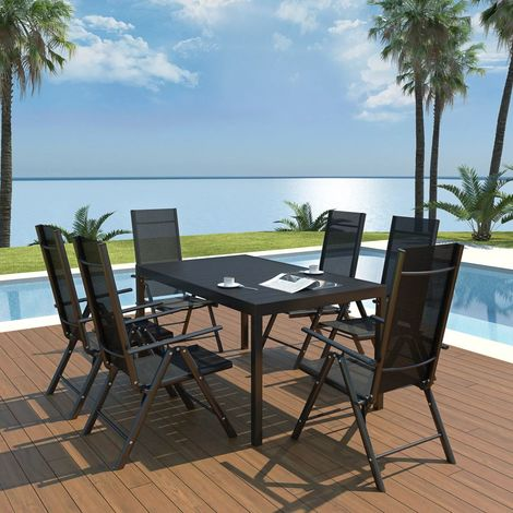 Hommoo 7 Piece Outdoor Dining Set Aluminium and WPC Black