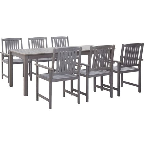 Hommoo 7 Piece Outdoor Dining Set Grey Solid Acacia Wood