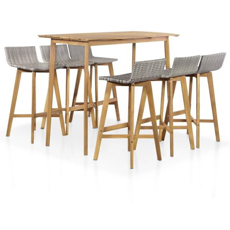 Hommoo 7 Piece Outdoor Dining Set Solid Acacia Wood