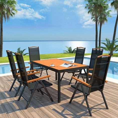 Hommoo 7 Piece Outdoor Dining Set with Folding Chairs Aluminium Black