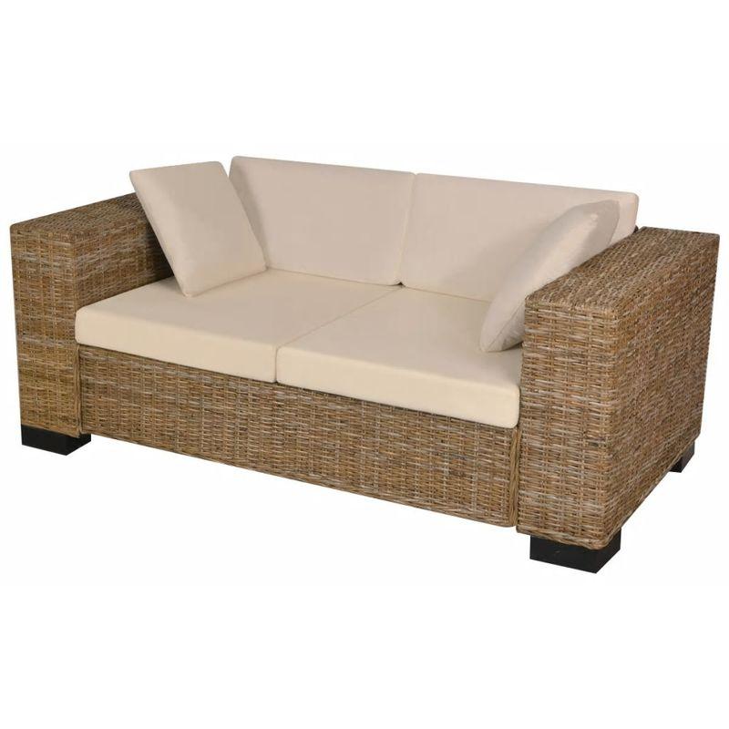 7-tlg. 2-Sitzer Sofa Set Echtes Rattan VD09683 - Hommoo