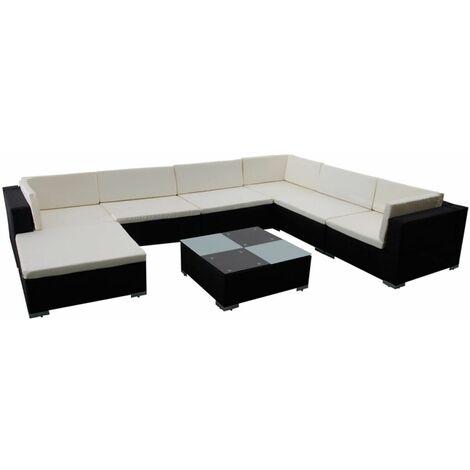 Hommoo 8 Piece Garden Lounge Set with Cushions Poly Rattan Black QAH33959