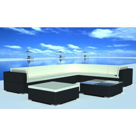 Hommoo 8 Piece Garden Lounge Set with Cushions Poly Rattan Black VD33959