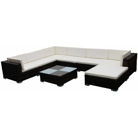 Hommoo 8 Piece Garden Lounge Set with Cushions Poly Rattan Brown QAH33958